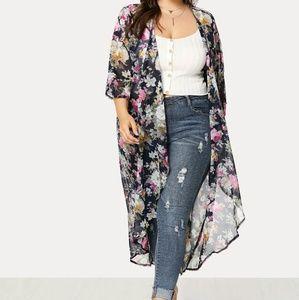 Tops - Floral Duster Length Kimono